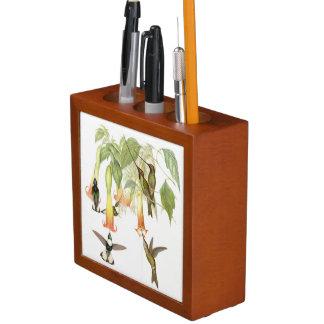ハチドリの鳥の花動物の机のオルガナイザー ペンスタンド