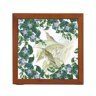 ハチドリの鳥の花柄の花の机のオルガナイザー ペンスタンド