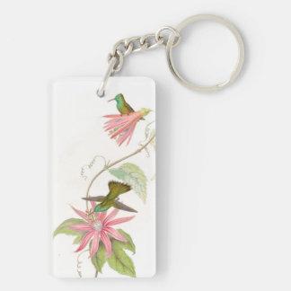 ハチドリの鳥の花花動物の野性生物 キーホルダー