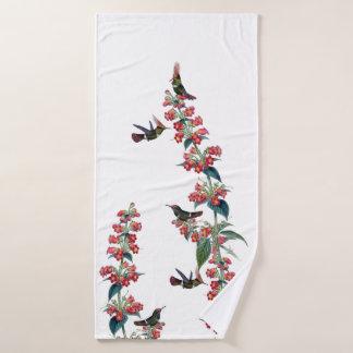 ハチドリの鳥の赤の花のBathタオルセット バスタオルセット