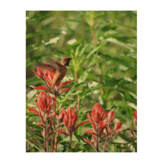 ハチドリの鳥の赤の花 ウッドウォールアート