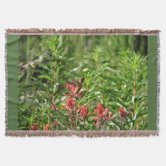 ハチドリの鳥の赤の花 スローブランケット