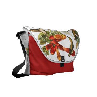 ハチドリの鳥の野性生物の花柄のメッセンジャーバッグ メッセンジャーバッグ
