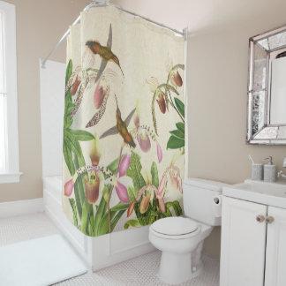 ハチドリの鳥のLadysのスリッパ蘭の花 シャワーカーテン