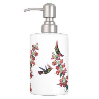 ハチドリの鳥動物の花のバスセット バスセット