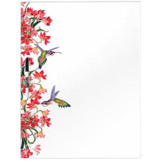 ハチドリの鳥及びAmarylisの花の花柄板 ホワイトボード