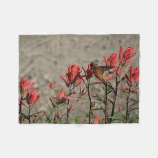 ハチドリの(鳥)ショウジョウコウカンチョウflw. フリースブランケット