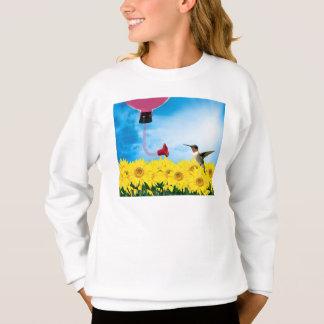 ハチドリを食べ物を与えること スウェットシャツ