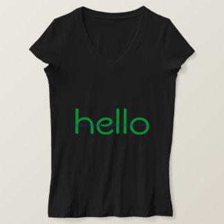 ハッカーこんにちはおよび従属的な二進メッセージのティー Tシャツ