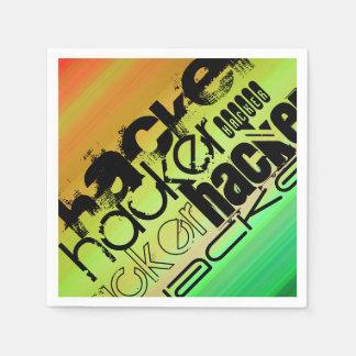 ハッカー; 鮮やかな緑、オレンジ、及び黄色 スタンダードカクテルナプキン