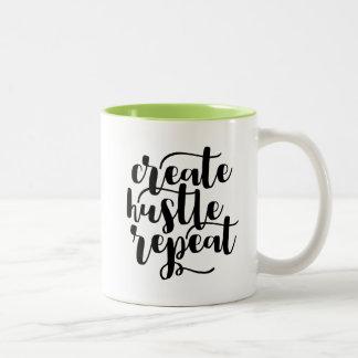 ハッスルの繰り返しのマグを作成して下さい ツートーンマグカップ