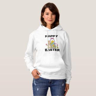 ハッピーイースターのウサギレディースフード付きスウェットシャツ パーカ