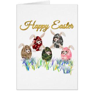 ハッピーイースターのカムフラージュチョコレートバニーの卵の狩り カード
