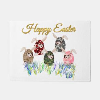ハッピーイースターのカムフラージュチョコレートバニーの卵の狩り ドアマット