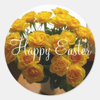 ハッピーイースターのステッカーの黄色バラ 丸型シール