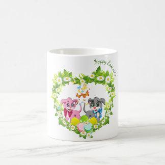 ハッピーイースターのハートの鼻の子犬の漫画 コーヒーマグカップ