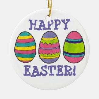 ハッピーイースターのバスケットによって絵を描かれる卵の狩りの卵のオーナメント セラミックオーナメント