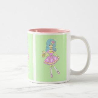 ハッピーイースターの女の子の緑 ツートーンマグカップ