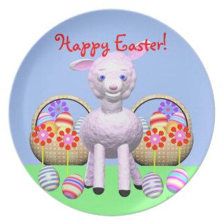 ハッピーイースターの子ヒツジ、卵および花 プレート