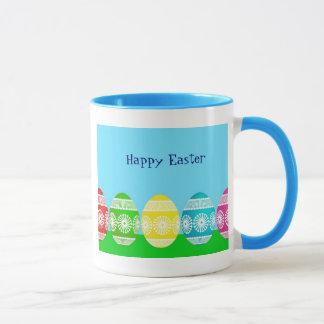 ハッピーイースターの淡いブルーのかわいい卵のデザイン マグカップ