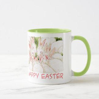 ハッピーイースターの白いウサギのマグ マグカップ
