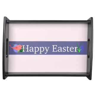 ハッピーイースターの紫色の旗の黒のトレイ トレー