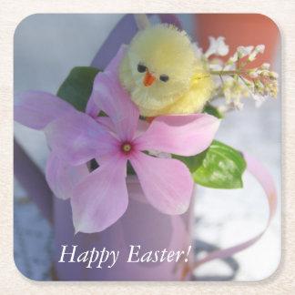 ハッピーイースターの花の春鶏 スクエアペーパーコースター