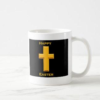 ハッピーイースターの金ゴールドの十字 コーヒーマグカップ