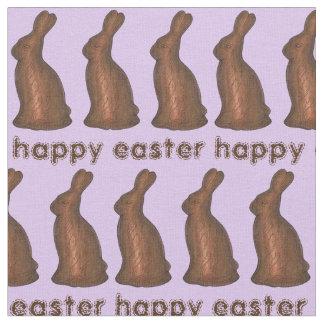 ハッピーイースターチョコレートバニーウサギの生地の紫色 ファブリック