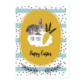 ハッピーイースター。 イースターのウサギの郵便はがき ポストカード