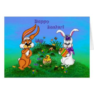ハッピーイースター! バニーが付いているウサギおよびひよこ グリーティングカード