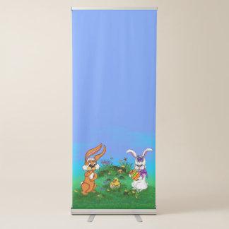 ハッピーイースター! バニーが付いているウサギおよびひよこ 伸縮バナー