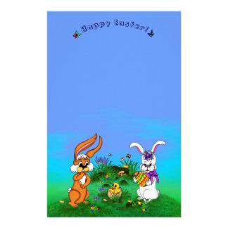 ハッピーイースター! バニーが付いているウサギおよびひよこ 便箋