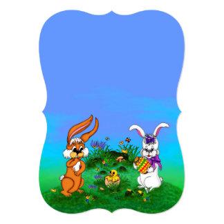ハッピーイースター! バニーが付いているウサギおよびひよこ 12.7 X 17.8 インビテーションカード