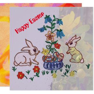 ハッピーイースター-バニー、挨拶するユリおよび卵 13.3 スクエアインビテーションカード