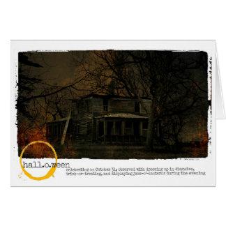 ハッピーハローウィンのお化け屋敷の写真撮影 カード