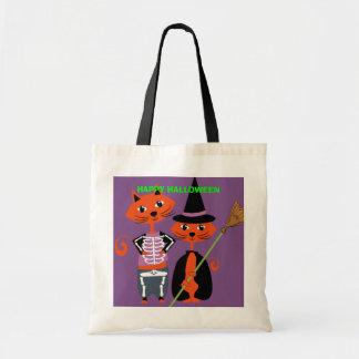 ハッピーハローウィンのかわいい猫 トートバッグ
