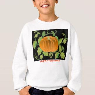 ハッピーハローウィンのカボチャつる植物の子供のスエットシャツ スウェットシャツ