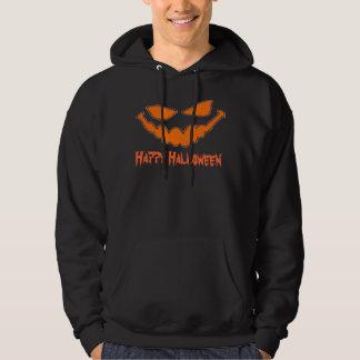 ハッピーハローウィンのカボチャ顔のフード付きスウェットシャツ パーカ