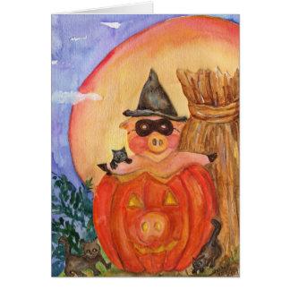 ハッピーハローウィンのブタカード子ネコ及びジャックO'Pig カード