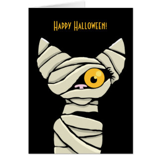 ハッピーハローウィンのミイラ猫 カード