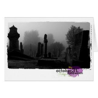 ハッピーハローウィンの写真撮影の墓地 カード