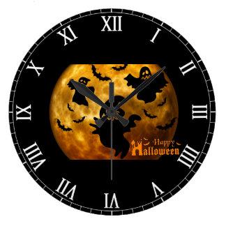ハッピーハローウィンの幽霊およびこうもり ラージ壁時計