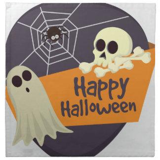 ハッピーハローウィンの幽霊および骨が交差した図形 ナプキンクロス
