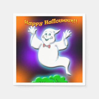 ハッピーハローウィンの幽霊の紙ナプキン スタンダードカクテルナプキン