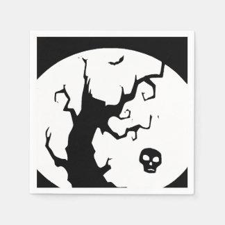 ハッピーハローウィンの気味悪い木の紙ナプキン スタンダードカクテルナプキン