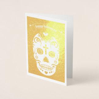 ハッピーハローウィンの砂糖のスカル 箔カード