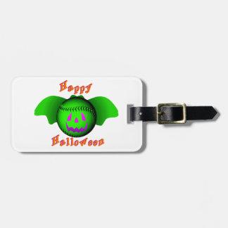ハッピーハローウィンの緑の野球用バット ラゲッジタグ