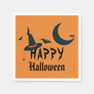 ハッピーハローウィンの魔法使いの帽子は月のオレンジ黒を打ちます スタンダードカクテルナプキン