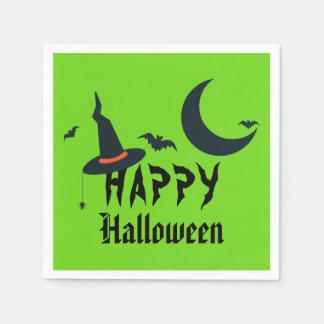ハッピーハローウィンの魔法使いの帽子は月のネオンの緑を打ちます スタンダードカクテルナプキン